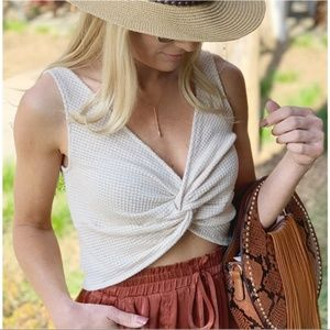 Waffle Knit Twist Front Cropped Top